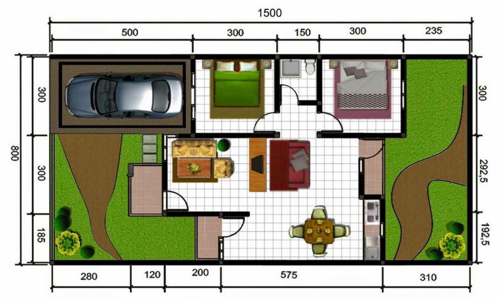 contoh denah rumah tipe 45